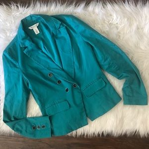 WHBM Teal Double Breasted Blazer Jacket